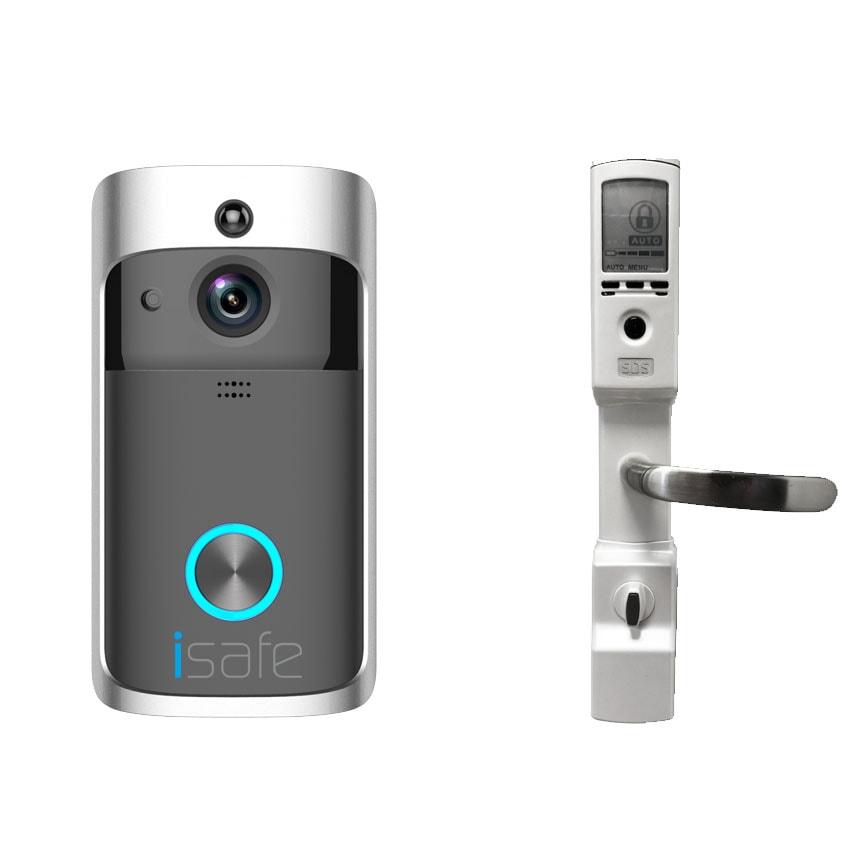 מצלמת אבטחה ופעמון אינטרקום Isafe + מנעול חכם לדלת כניסה לוק 8200 - lock 8200