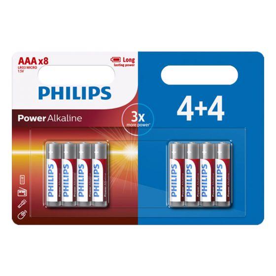 סוללות AAA פיליפס סוללה חזקה במיוחד philips לא נטענות סט 4+4