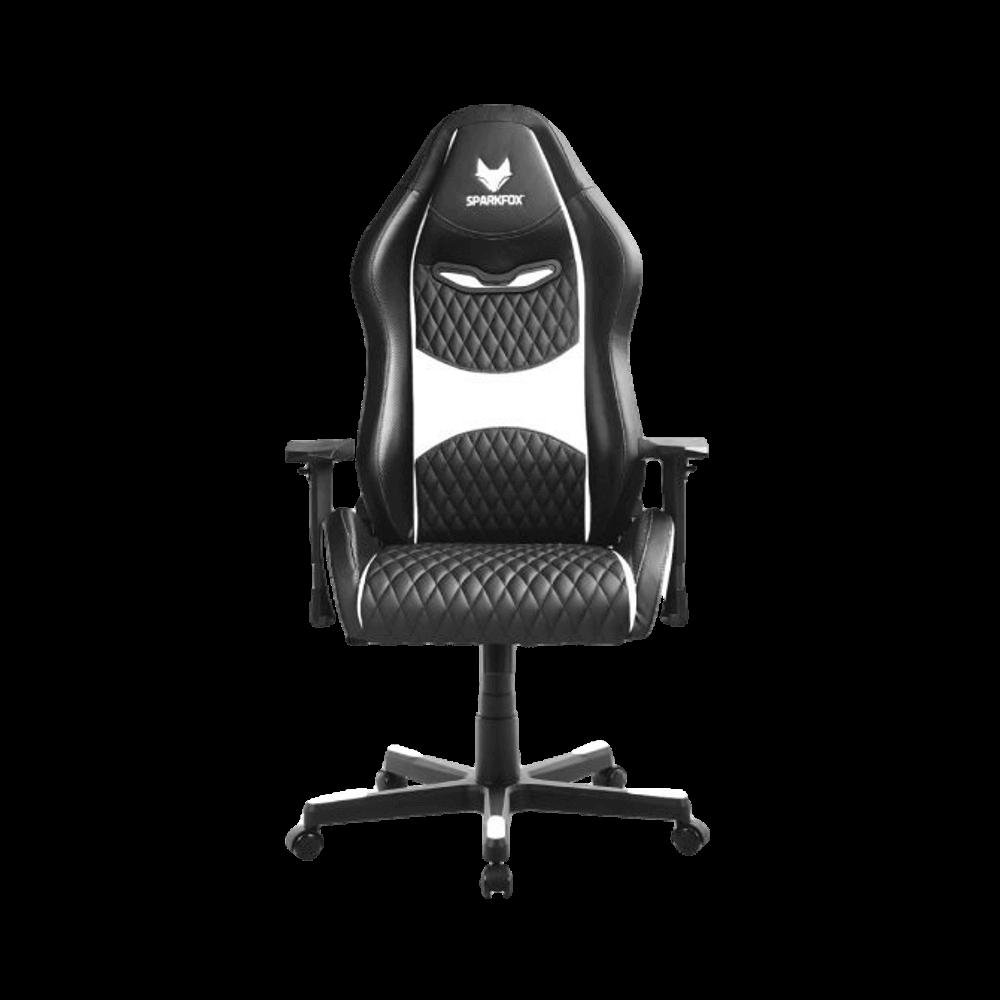 מושב גיימינג כיסא מחשב מקצועי לגיימרים SPARKFOX בטקסטורת מעויינים לבן