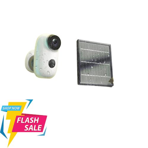 מצלמת אבטחה אלחוטית עם סוללה ופאנל סולארי חיצונית לחצר / פנימית לבית