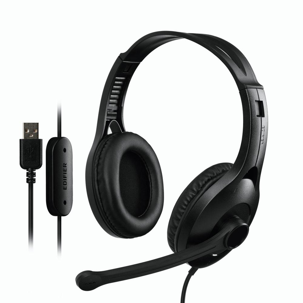 אוזניות גיימינג מקצועיות למחשב עם מיקרופון Edifier K800 USB Headset Black