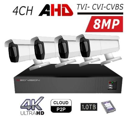 מצלמות אבטחה Neovision במבצע קיט 4 מצלמות צינור AHD 8MP 4K מוכן להתקנה לבית ולעסק