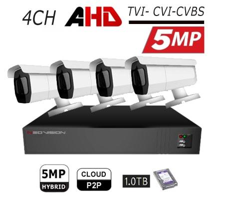 מצלמות אבטחה Neovision במבצע קיט 4 מצלמות צינור AHD 5MP מוכן להתקנה לבית ולעסק