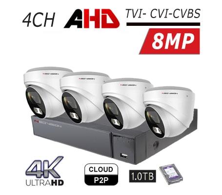 מצלמות אבטחה Neovision במבצע קיט 4 מצלמות כיפה AHD 8MP 4K מוכן להתקנה לבית ולעסק