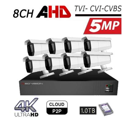 מצלמות אבטחה Neovision במבצע קיט 8 מצלמות צינור AHD 5MP מוכן להתקנה לבית ולעסק