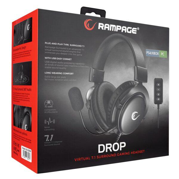 אוזניות גיימינג מקצועיות למחשב עם מיקרופון Rampage R36 DROP Black 7.1