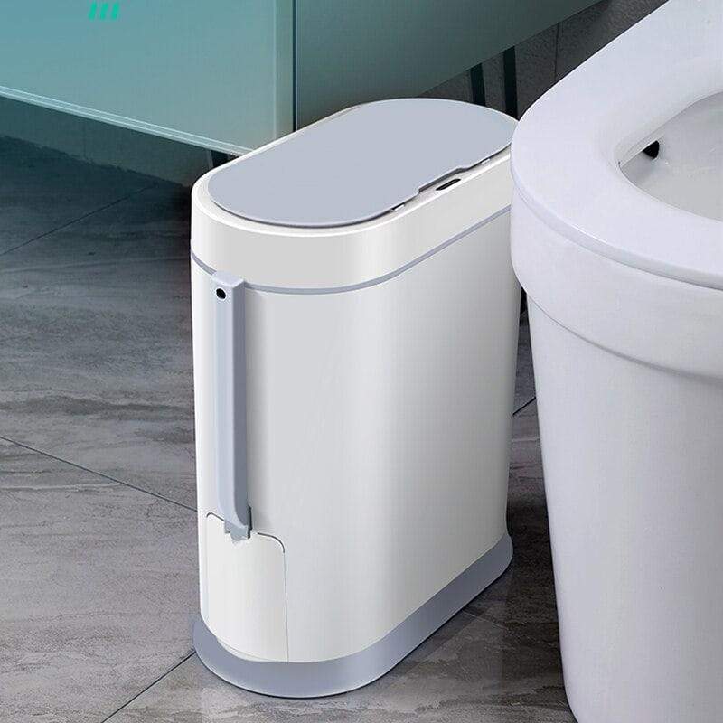 פח אשפה לשירותים אוטומטי עם סנסור חיישן 2 ב 1 כולל מברשת אסלה